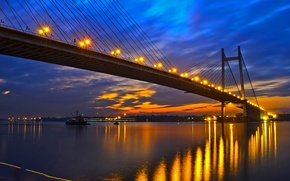 Picture bridge, lights, river, the evening, India, glow, West Bengal, Ganges, Kolkata, Hooghly Bridge