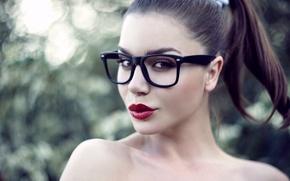Picture look, girl, face, model, glasses, lips, brown hair, socket, Nastya, Panteleeva