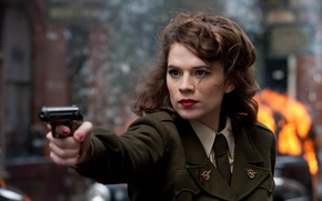 Picture Hayley Atwell, Hayley Аtwell, form, gun, actress, The First Avenger