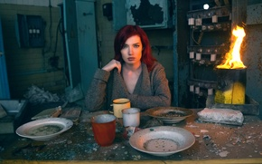 Picture girl, fragments, table, fire, dust, plates, dishes