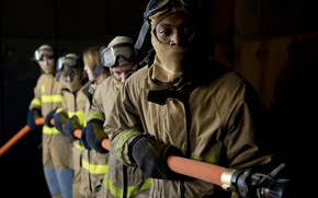 Picture helmets, hoses, fire protective clothing