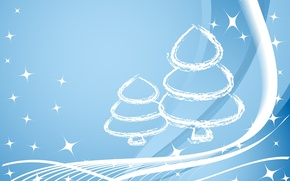 Wallpaper line, blue, tree, new year