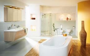 Picture shower, bath, vase, bathroom, sink, lockers