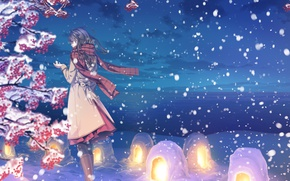 Picture winter, the sky, girl, clouds, snow, nature, anime, scarf, art, lanterns, yuca