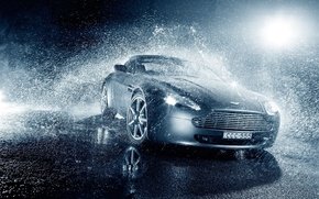 Picture Vantage, Light, Aston, Martin, Water, Rain