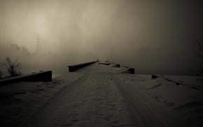 Picture winter, snow, bridge, fog, river, gloom