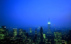 Wallpaper building, skyscrapers, Blue