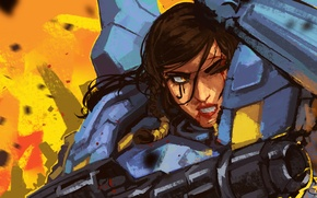 Wallpaper pharah, blizzard, girl, armor, overwatch, gun, art