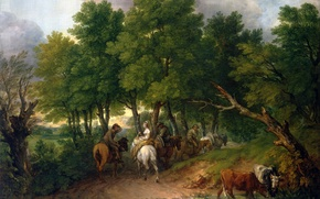 Picture picture, cow, road, trees, people, horse, Road from Market, landscape, Thomas Gainsborough