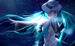 Picture the sky, girl, stars, night, the ocean, the moon, hat, anime, art, vocaloid, hatsune miku
