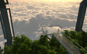 Picture glass, tower, trees, cloud sea overlook