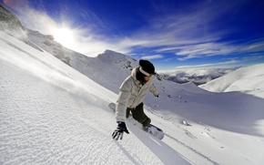 Picture freedom, mountains, snowboard, adrenaline