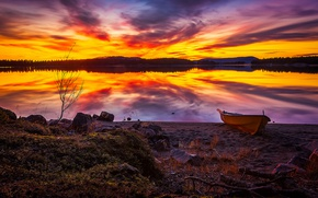 Picture autumn, the sky, clouds, sunset, lake, reflection, stones, shore, boat, October, Sweden, Sweden