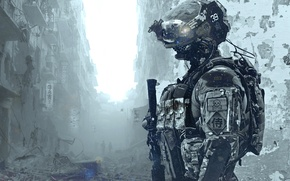 Picture soldiers, costume, the ruins, helmet, special forces