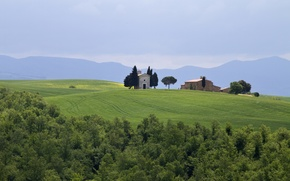 Picture field, trees, mountains, Italy, buildings, Italy, Tuscany, Tuscany