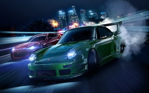 Picture road, machine, night, the city, lights, lights, tuning, smoke, speed, home, Porsche, Subaru, tires, Need …