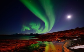 Picture mountains, Northern lights, the moon, night, Norway, the sky, Islands, stars