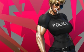 Picture chest, girl, police, art, glasses, police, anime, tokens, muscles, naomi anderson