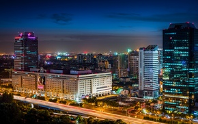Picture road, night, the city, lights, building, home, skyscrapers, excerpt, lighting, backlight, China, Asia, Shanghai, Shanghai, ...