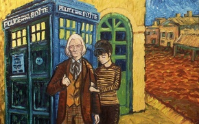 Picture girl, police box, art, time travel, William Hartnel, tardis, dr Who
