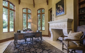 Picture villa, luxury, fireplace, office, workspace