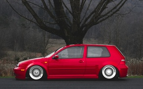 Picture red, tuning, volkswagen, profile, red, Golf, golf, Volkswagen, stance, MK4