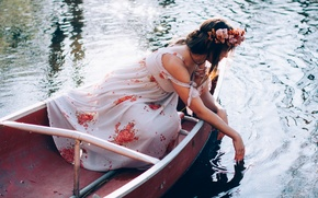Picture water, girl, boat