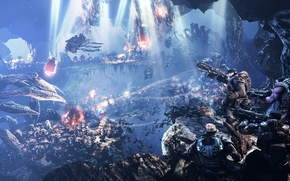 Picture war, monsters, soldiers, abyss, Gears of War