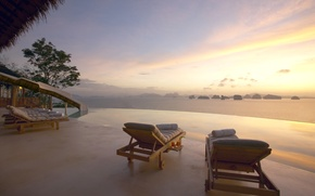 Picture sea, Villa, view, the evening, relax, Bay