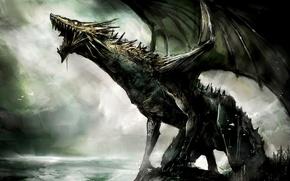 Wallpaper dragon, creature, jaws