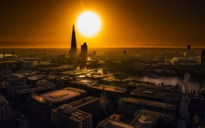 Picture the sun, city, the city, river, sunrise, London, building, home, roof, sunrise, London