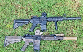 Wallpaper weapons, AR-15, rifle, assault