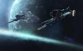 Picture space, fiction, ship, planet, art, spaceship