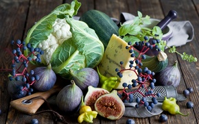 Picture autumn, berries, food, cheese, blueberries, grapes, vegetables, figs