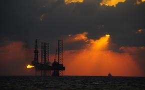 Picture sea, the sun, sunset, ship, tanker, silhouettes, platform, oil