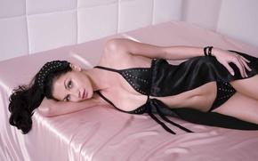 Picture girl, bed, silk, black underwear
