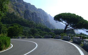 Picture road, the sky, mountains, nature, tree, mountain, track, beauty, highway, Italy, Positano