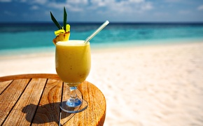 Picture sand, sea, beach, water, glass, the ocean, cocktail, glass, drink, beach, sea, ocean, water, sand, …