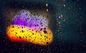 Picture glass, water, drops, macro, lights, background, rain, Wallpaper, blur, wallpaper, widescreen, background, bokeh, full screen, …