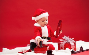 Picture child, boy, Christmas, costume, gifts, New year, fur, red, Santa Claus, bow, Christmas, New Year, …