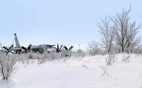 Wallpaper missile, strategic bomber, snow, Tu-95MS, winter, the plane
