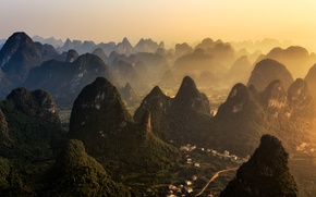 Picture the sun, mountains, river, hills, home, horizon, China, village