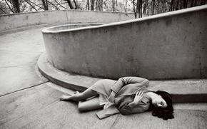 Picture barefoot, brunette, photographer, lies, black and white, singer, coat, Lana Del Rey, Lana Del Rey, …
