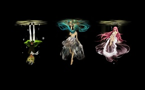 Picture water, girls, black background, vocaloid, hatsune miku, megurine luka, kagamine rin