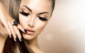 Picture girl, eyelashes, makeup, ring, manicure, Anna Subbotina