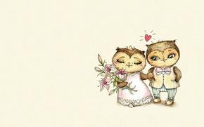 Picture mood, holiday, owl, heart, art, the bride, wedding, the groom, children's, sovushka, Inga Paltser, Inga, …