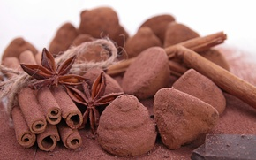 Picture chocolate, candy, cinnamon, star anise, truffles