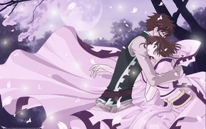 Picture girl, romance, anime, art, hugs, guy, Tsubasa Reservoir Chronicles