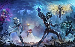 Picture the sky, fantasy, magic, tower, armor, anime, heroes, fishing