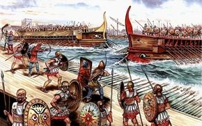 Picture war, figure, art, battle, harbour, shields, spears, archers, Luke, screening, slingers, Syracuse, 413 BC to …